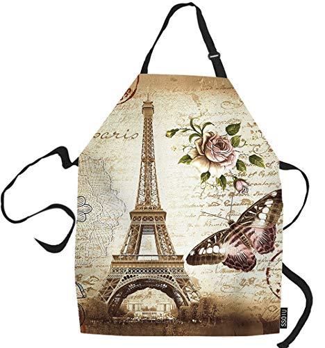 SSOIU Eiffel Cooking Apron, Vintage Paris Eiffel Tower Butterfly And Flower Kitchen Apron For Baking/BBQ Men Women Unisex Waterproof 31X27 Inches