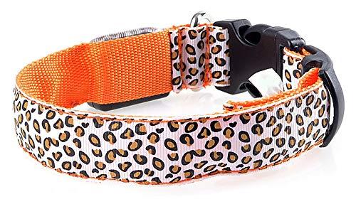 DMFSHl Collare Luminoso per Cani, Collare Cane LED, Collare per Animali Leopardato Regolabile con 3 modalità Lampeggianti per Una Maggiore visibilità di Notte (Arancia, 43-60 cm)