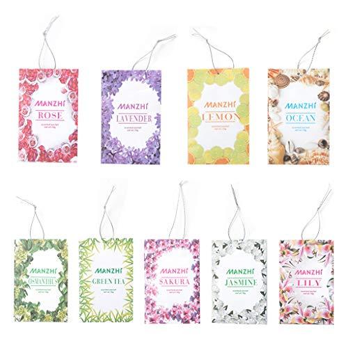 ZZALLL1 Bolsa Bolsitas de fragancias para el hogar Té de Flores Naturales Armario Marino Bolsa de aromaterapia Molde y Control de plagas Ambientador Inodoro para automóvil con Cuerda Colgante
