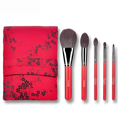 Jia He Pinceau de maquillage Maquillage pinceau - rayon, style chinois cinabre classique brosse de maquillage portable 5 combinaisons pour les débutants outils de beauté maquilleuse professionnelle av
