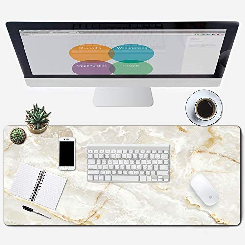 """Galdas Large Mouse Pad Marble Pattern XXL XL Large Mouse Pad Mat Long Extended Mousepad Desk Pad Non-Slip Rubber Mice Pads Stitched Edges Thin Pad (31.5x11.8x0.08"""")"""