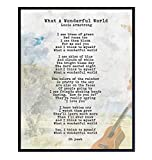 What a Wonderful World Lyrics Poster - 8x10 Wall Art, Home Decor - Louis Armstrong Song Music Art Print - Uplifting Motivational Inspirational Quote, Sentimental Saying - Unframed Print