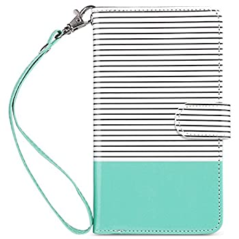 ULAK iPhone 8 Plus Wallet Case iPhone 7 Plus Case with Card Holder Premium PU Leather Flip Cover with Kickstand Magnetic Closure Shockproof Case for iPhone 7 Plus/8 Plus Mint/Minimal