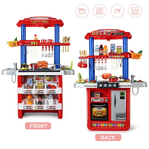 CUTE STONE 2-in-1 Kids Kitchen & Grill Playset, Large Play Kitchen with Realistic Lights & Sounds,Play Sink with Running Water, Kitchen Toy Set with Play Food and Kitchen Accessories Set