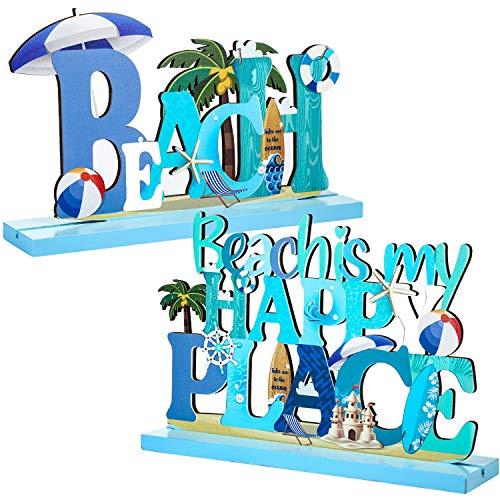 2 Pcs Beach Sign Ocean Sea Animal Party Decor Beach is My Happy Place Plaque Sign Wooden Table Decorations for Coastal Theme Interior Beach House Home Beach Bathroom Decor, 7.87 x 4.72 Inch