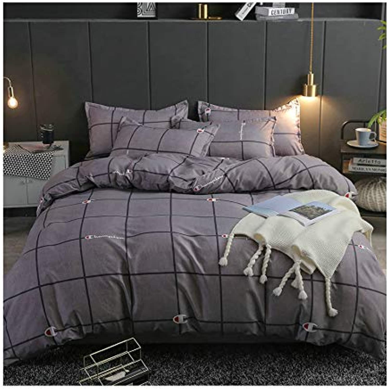 KFZ Plaid Lattice Checker Printed Bed Set Duvet Cover Without Comforter Insert Flat Sheet Pillowcase LJ1811 Twin Full Queen King Sheets Set for Girls Kids (Plaid Stripe B, Grey, Full 70 x86 )