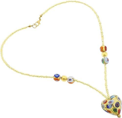 GlassOfVenice Damen Murano Glas Herz Halskette Klimt