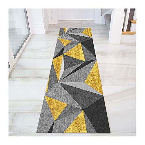Teppich Läufer Für Moderne Geometrisch Küche Wohnzimmer, Korridor Teppiche Rutschfest Schlafzimmer Flur Bodenmatte Gelbgrau,Waschbar,A,100x500cm