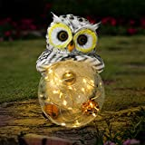Olekki Garden Owl Figurines Solar Lights Outdoor Decorative | Garden Decor Solar Statue Outdoor Decorations for Patio, Yard, Lawn Ornaments - Garden Gift for Mom's Day, Housewarming, Festival