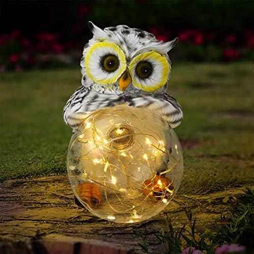 Olekki Garden Owl Figurines Solar Lights Outdoor Decorative | Garden Decor Solar Statue Outdoor Decorations for Patio, Yard, Lawn Ornaments - Garden Gift for Mom's Day, Housewarming, Festival