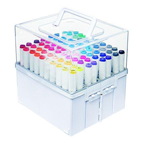 Deflecto Expandable Marker Accordeon, slaat tot 80 markeerstiften, witte bodem, transparant deksel, 21,6 cm B x 21,6 cm H x 19,1 cm D (29133CR)