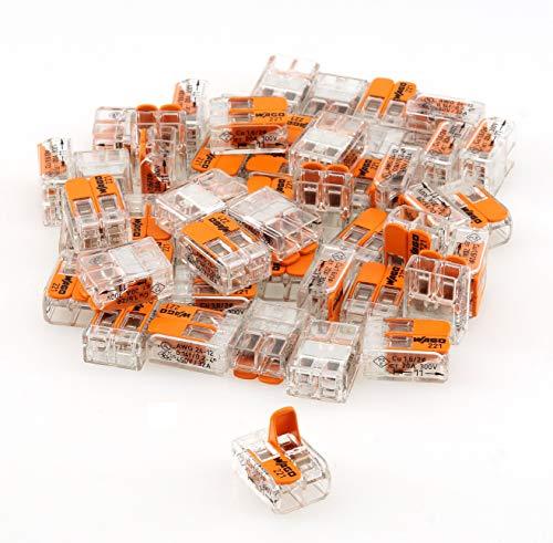 50 Stück Wago Klemmen 221-412 Verbindungsklemme 2 Leiter mit Betätigungshebel 0,2-4 qmm kleine Bauform, transparent