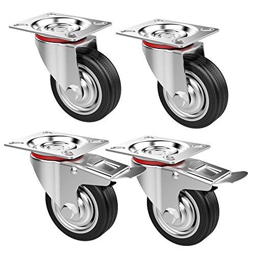 Yaheetech 4 Stück Transportrollen Schwenkrollen Möbelrollen Laufrolle Gummi 75mm 2 mit Bremse