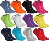 Rainbow Socks - Hombre Mujer Calcetines Cortos Colores de Algodón - 12 Pares - Negro Blanco Gris Púrpura Azul Marino Azul de Vaqueros Naranja Rojo Amarillo Verde de Mar Merde Fucsia - Talla 42-43