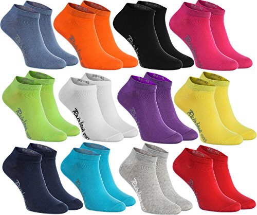 Rainbow Socks - Hombre Mujer Calcetines Cortos Colores de Algodón - 12 Pares - Negro Blanco Gris Púrpura Azul Marino Azul de Vaqueros Naranja Rojo Amarillo Verde de Mar Merde Fucsia - Talla 44-46