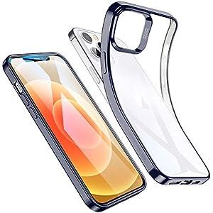 "ESR Funda Transparente para iPhone 12/iPhone 12 Pro 6.1""2020[Funda TPU][Suave Silicona][Slim][Esquinas con Absorción de Golpes][Funda de Silicona Flexible] para iPhone 12/12 Pro - Marco Azul"