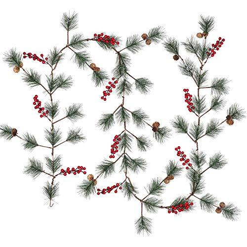 YQing 204 cm Guirlande Noël de Baie, Artificielles Houx Sapin Guirlande de Noël Deco avec Pomme de Pin Aiguille de Pin pour vacances d'hiver Nouvel An Décoration