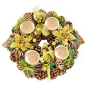 "Home-X Golden Pinecone Christmas Wreath Candle Holder, Artificial Advent Wreath, Winter Home Decorations, (11"" Diameter)"