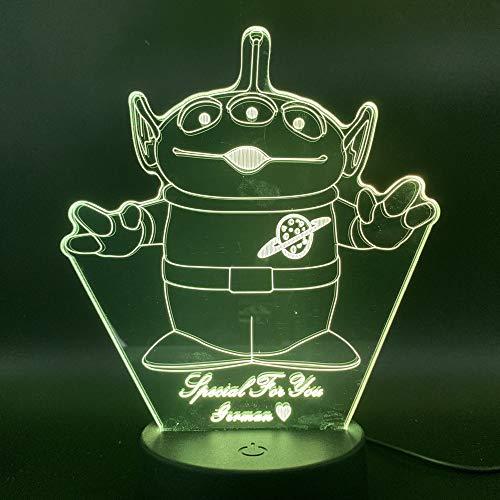 Solo 1 pieza Lámpara 3D Monstruo de tres ojos para niños Habitación Toy S Alien Nightlight Regalo especial para niños decoración de acrílico Led Night Light