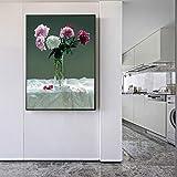 YuanMinglu Blumentopf Leinwandmalerei an der Wand Stillleben Blume Hauptdekoration Bild Pfingstrose...