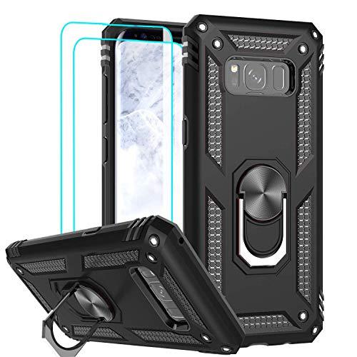 LeYi Funda Samsung Galaxy S8 con [2-Unidades] Cristal Vidrio Templado,Armor Carcasa con 360 Anillo iman Soporte Hard PC y Silicona TPU Bumper antigolpes Fundas Carcasas Case para Samsung S8,Negro