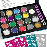 Nicpro Face Painting Kits Professional for Kid and Adult with 48 Stencils, Facepainting Non-Toxic Water-Based Body Makeup Face Paint Set of 16 Colors & 2 Glitters 3 Assorted Paint Brushes 2 Sponges