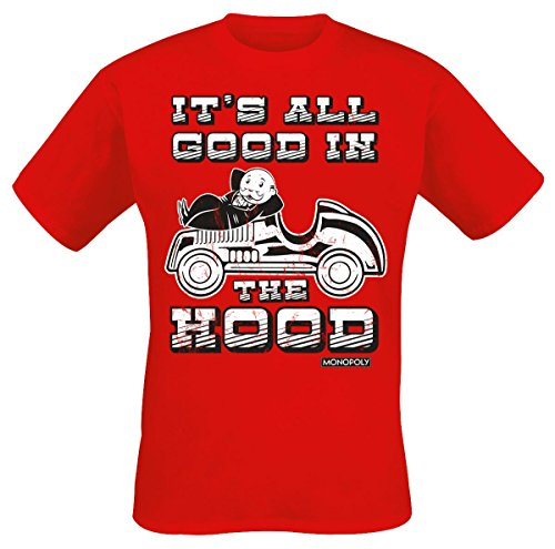 Monopoly It's All Good In The Hood Camiseta Rojo M, 100% algodón, Corte Normal