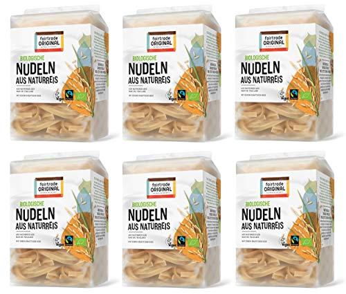 6 x 225 g Bio Thailändische Fairtrade Reisnudeln braun   Braune Natur Reisnudel von Fairtrade Original   Glutenfrei   Bio Naturreisnudel   ideal für vietnamesische Pho