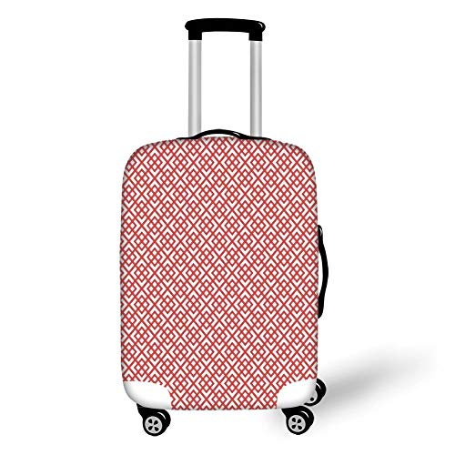 Travel Luggage Cover Suitcase Protector,Pink Decor,Square Shapes Horizontal Image with Diamond Shapes Triangles Print Decorative,Dark Coral and White,for Travel,M