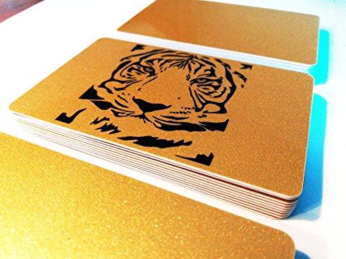 Premium Plastikkarten | PVC GOLD mit MOTIV | Mit Permanent Stift beschreibbar | Mehr als 50 unterschiedliche Motive! (Motiv Tiger)