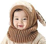 Tisi Baby Jungen & Mädchen Warm Knit Cute Hund Mütze & Schal Set Kleinkind Winter Crochet Beanie Cap Winter Models Shawl Baby Einteiler Hut Warm Baby Wollmütze (Braun)