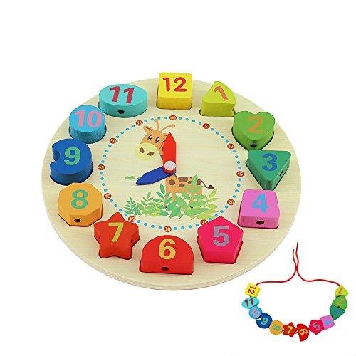QH-Shop Orologio In Legno Giocattoli ,Orologio Educative con Corda Numeri e Forme per Bambini