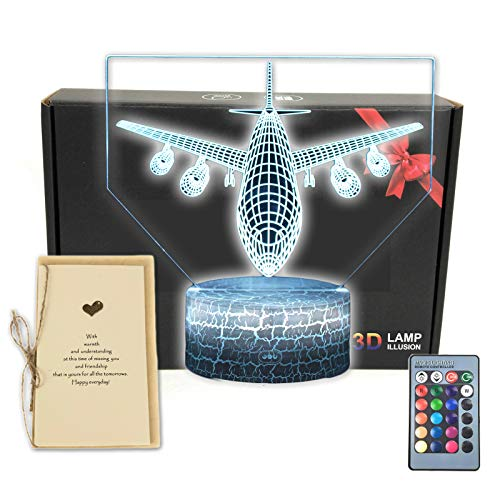DEAL BEST Jet Plane 3D Illusion LED Lamp Aircraft Airplane Bedroom Decor Night Light with Greeting Card,16 Colors Touch&Remote Decorations Toys Gifts