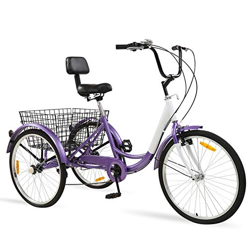 Ey Adult Tricycle, 3 Wheel Bike Adult, Three Wheel Cruiser Bike 24 26 inch Wheels, 7 Speed, Adjustable Seat and Handlebar, Multiple Colors (Purple, 24' Wheels/7-speed)