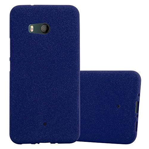 Cadorabo Hülle für HTC Ocean / U11 in Frost DUNKEL BLAU - Handyhülle aus flexiblem TPU Silikon - Silikonhülle Schutzhülle Ultra Slim Soft Back Cover Hülle Bumper