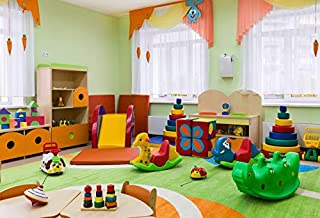 Leyiyi 5x3ft Photography Background Kindergarten Backdrop Children Room Playroom Fun Fair Classroom Window Curtain Corner Blur Toys Bricks Books Colorful Balls Kids Photo Portrait Vinyl Studio Prop