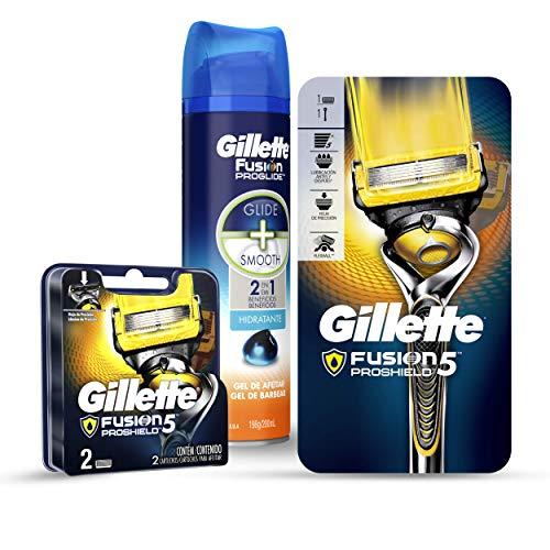 Gillette Máquina Para Afeitar Recargable Fusion Proshield + 3 Cartuchos + Hidratante Gel Para Afeitar 200 ml