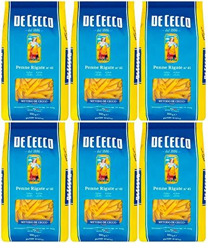 De Cecco - Penne Rigate n°41, Pasta di Semola di Grano Duro - 500 gx 6 Confezioni