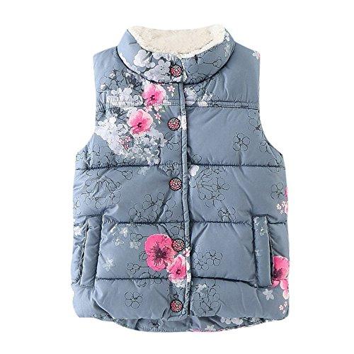 Ropa Niñas Invierno, Fossen 2-6 años Bebe Niñas Chaleco Floral Abrigo de Ropa (6 años, Azul)
