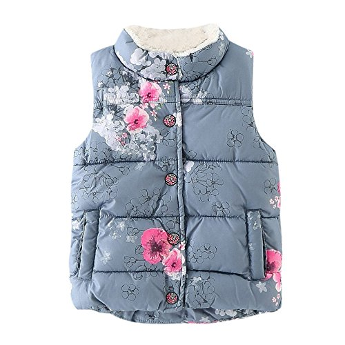 OSYARD Baby Mädchen Waistcoat Weste Mäntel,Kinder Mantel Westen Winter Warm Jacke Herbst Outwear Coat Winterjacke,Vintage Blumendruck Fleece Weste Herbst Winter Ärmellose Weste Warm Parka Wintermantel