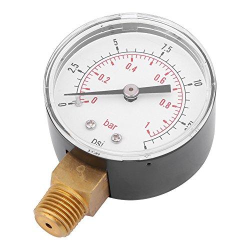Plaisir d'été Manomètre de pression d'eau d'air Manomètre à montage latéral, 0-15 psi / 0-1 bar mini-manomètre basse pression pour mazout ou eau BSPT