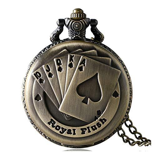 Diseño personalizado de póker grabado Reloj de bolsillo de cuarzo, reloj de bolsillo de estilo vintage con cadena, regalo para cumpleaños aniversario día navidad padre padre Hombres ( Color : Bronze )