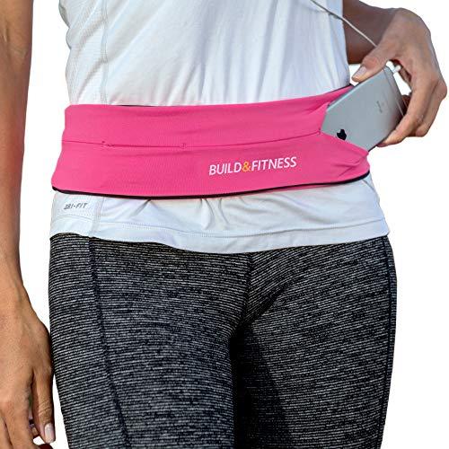 Build & Fitness Cinturón Hombre/Mujer para Correr, Riñonera Running Reversible, Clip Llavero, Riñonera Deportiva Apta para iPhone, Samsung