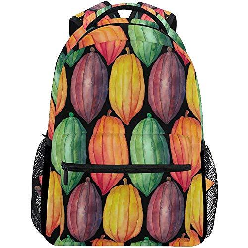 Rugzak Aquarel Cacao Plants Rugzak School Lichtgewicht College Tassen Reizen Casual Student Duurzaam