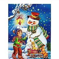 数字キットによるDiyオイルペインティング数字による冬の雪だるまペイント子供のためのDiyアクリル絵画キット印刷済みキャンバスアート家の装飾-16x20インチ(フレームなし)
