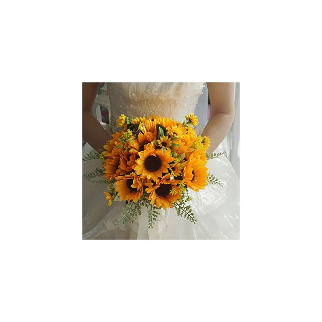 Sunflower Wedding Bouquet, Artificial Sunflower Handmade Bridal Bride Holding Flower Bouquets for Wedding Party Church Home Decor