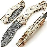 SJPJ 9565 Coltello tascabile in acciaio damasco a mano personalizzato con guaina billetta chef da cucina casa giardino da collezione bar da campeggio pieghevole