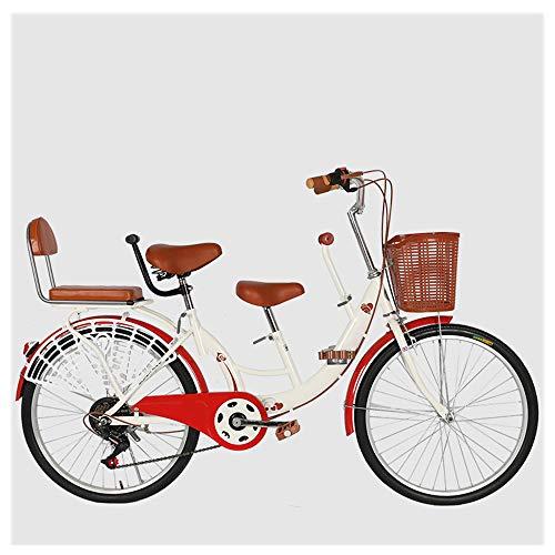 HUOFEIKE Bicicletas Livianas para Madre E Hijo, Bicicleta Urbana para Padres E Hijos con Tres Sillines, Bicicletas Tándem Convenientes para Sacar A Su Bebé, Se Adapta A Excursiones Familiares,B1