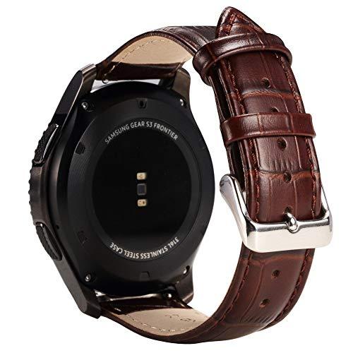 Samsung Gear S3 Frontier バンド Samsung Gear S3 Classicレザーバンド 皮革 高級バンド 本革 ベルト 留め金 簡単取付・調節 Galaxy Watch 46mm 高級バンド サムスン ギア S3 バンド(ブラウン)