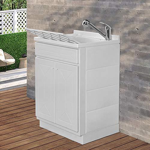 Mobile lavatoio in Resina, ideale per esterni e interni, 45x50-50x50-45x60-60x50-60x60, COMPLETO di asse lavaggio e kit sifone + piletta (60x50)